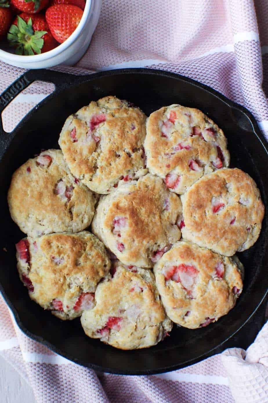 strawberry buttermilk biscuits in cast iron skillet