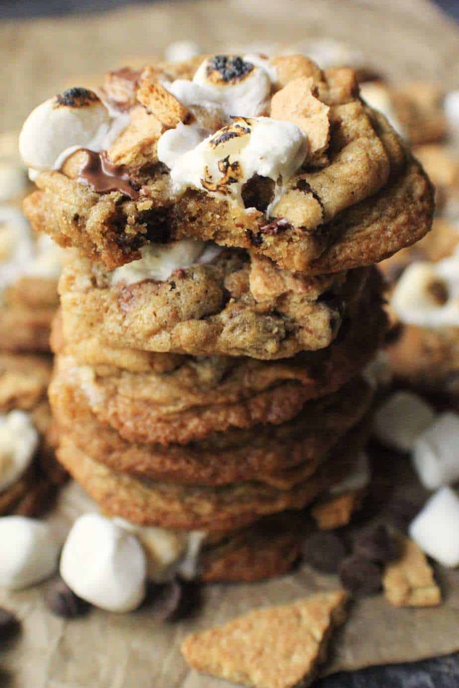 close up of stack of s'mores cookies