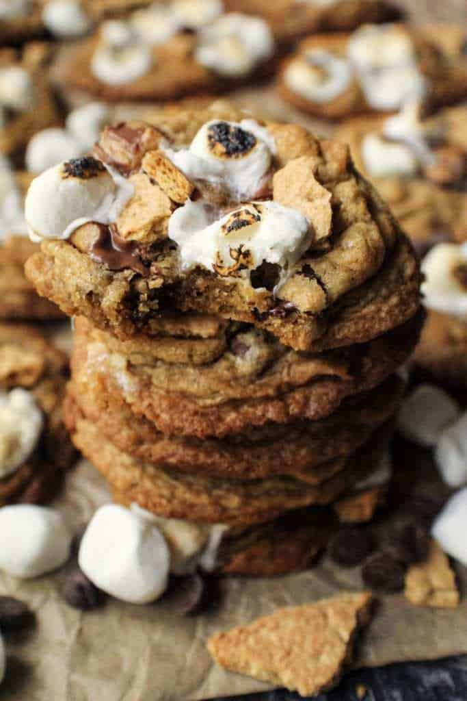 close up of s'mores cookie stack