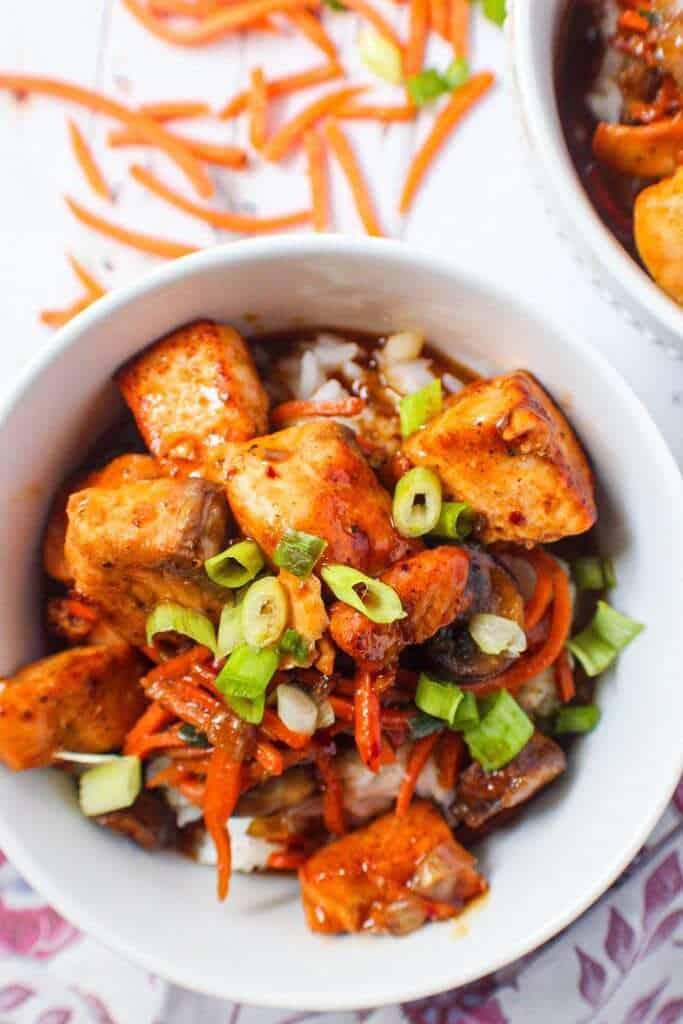 teriyaki salmon and veggie bowls
