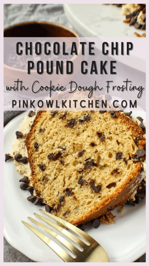 Tender pound cake packed with mini chocolate chips with a creamy cookie dough frosting.