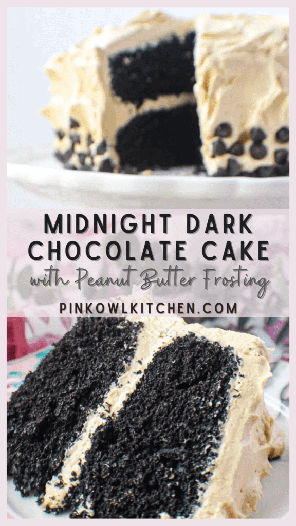 Rich dark chocolate cake with a creamy peanut butter buttercream frosting!