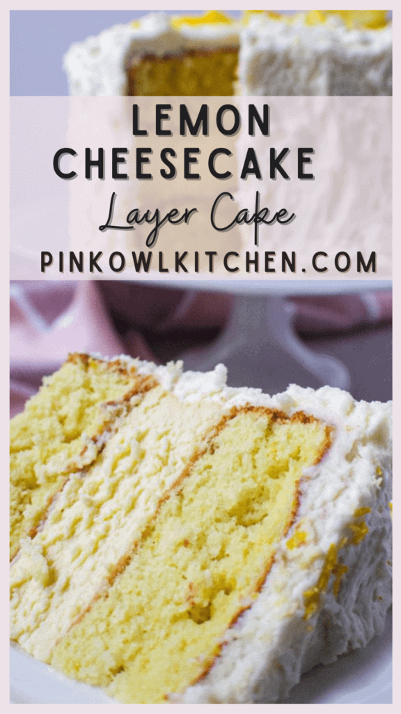 Two layers of fluffy lemon cake with a creamy vanilla cheesecake layer nestled in between, all coated in lemon buttercream!