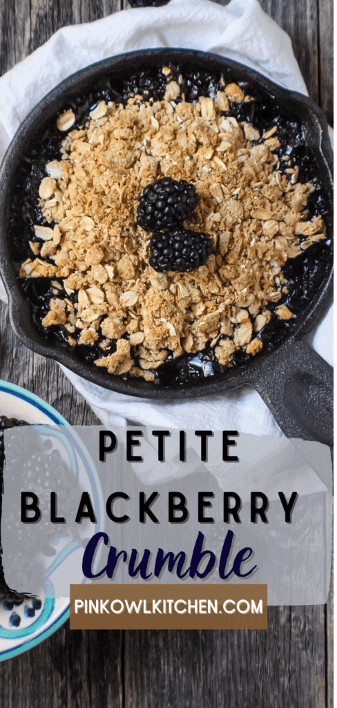 This adorable small batch crumble is packed with fresh blackberries and has a delicious crumble topping! #blackberrycrumble #dessertfortwo #dessertrecipe #smallbatchdessert #desserts #recipes #fruitcrumble