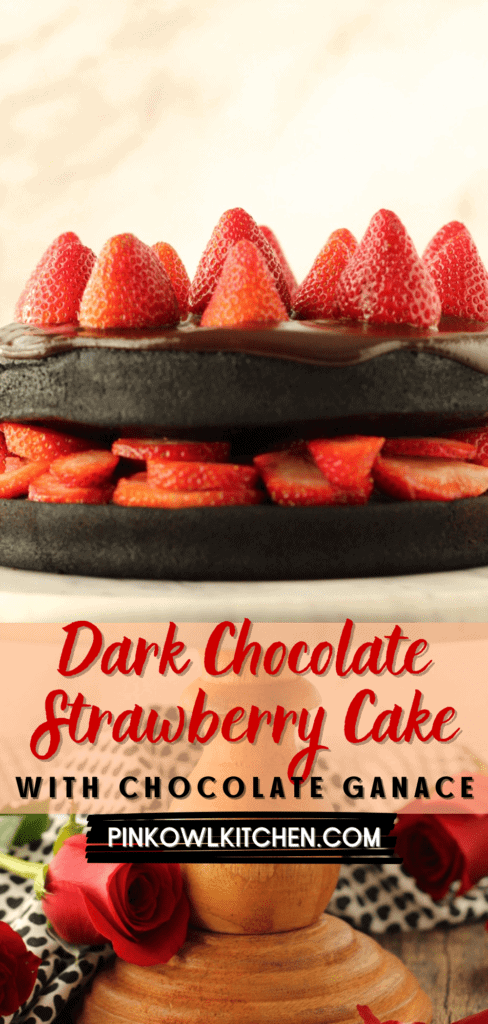 Intensely dark chocolate cake is layered with a strawberry compote and fresh sliced strawberries then topped with chocolate ganache and more strawberries! This cake is perfect for Valentine's Day or any day! #chocolatecake #cakerecipe #darkchocolatecake #dessertrecipe #chocolatestrawberry