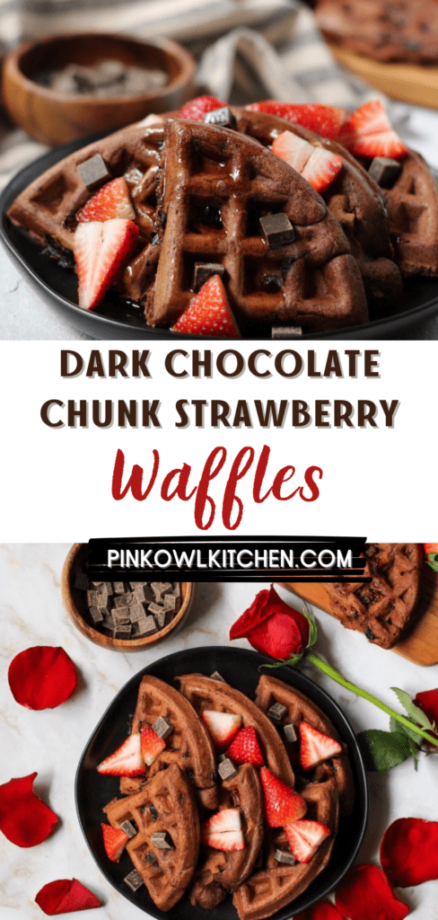 Dark chocolate waffles are loaded with chocolate chunks and fresh strawberries to create the perfect sweet breakfast or brunch recipe! #waffles #chocolatewaffles #breakfastrecipes #brunchrecipes #sweetbreakfast