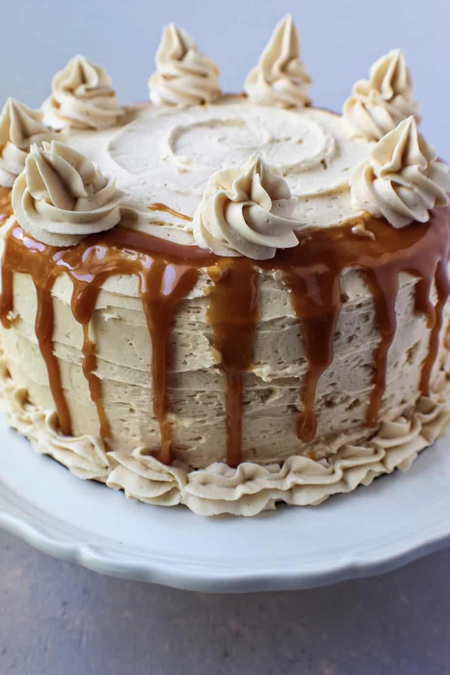 side shot of caramel cheesecake layer cake
