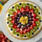 overhead shot of gluten-free fruit pizza