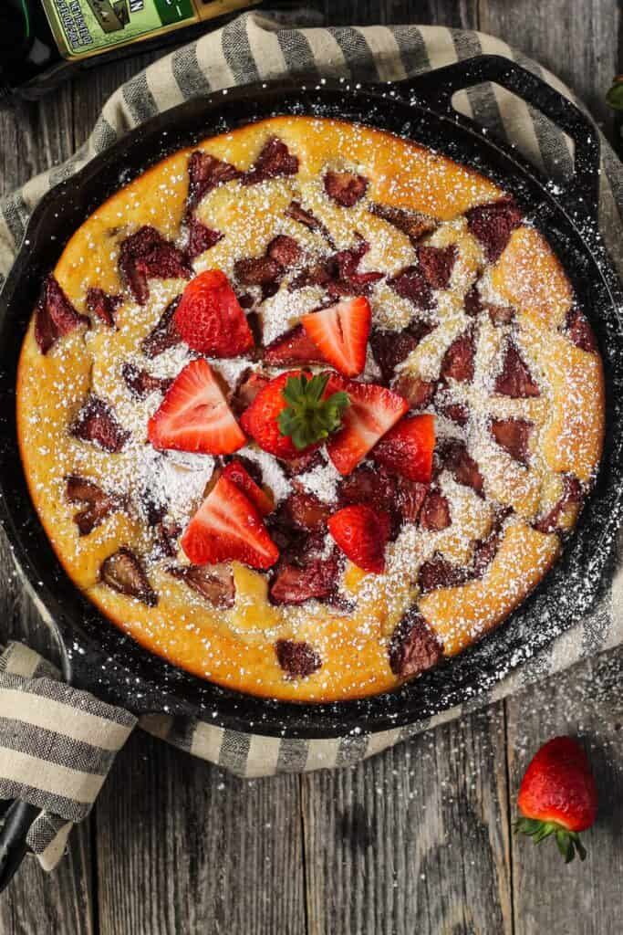 roasted strawberry olive oil skillet cake