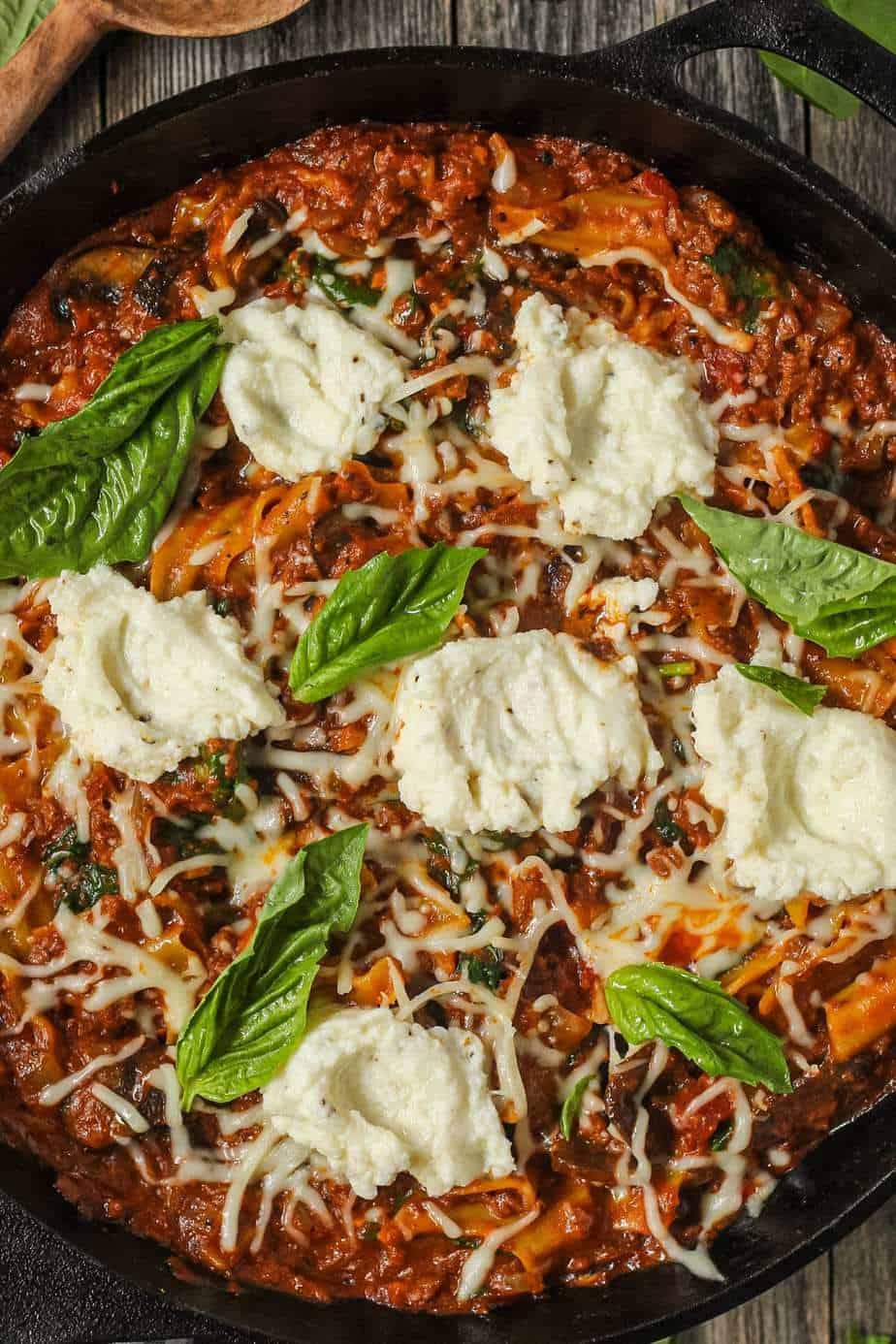 overhead shot of skillet lasagna in cast iron skillet.