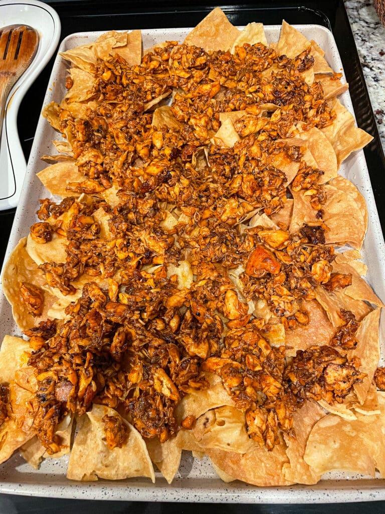 making bbq salmon nachos