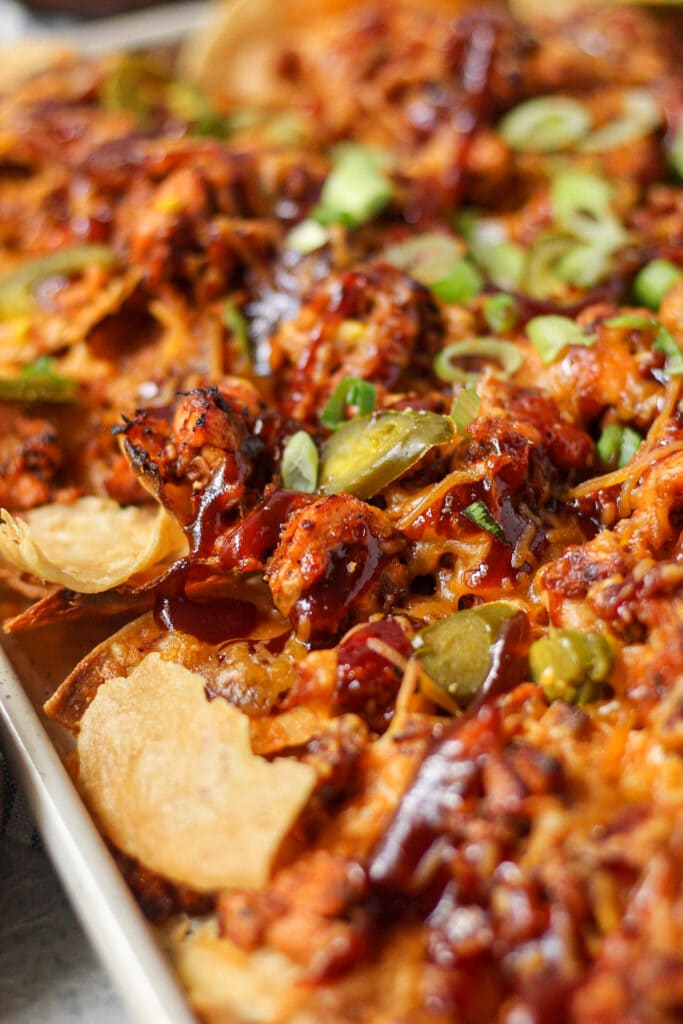 close up shot of bbq salmon nachos