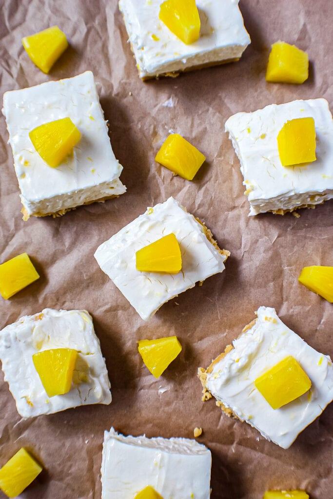 overhead shot of pineapple cheesecake bars