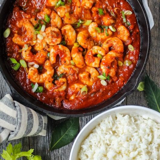 overhead shot of spicy shrimp creole