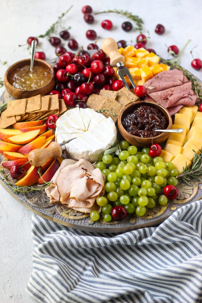side angle shot of summer charcuterie board