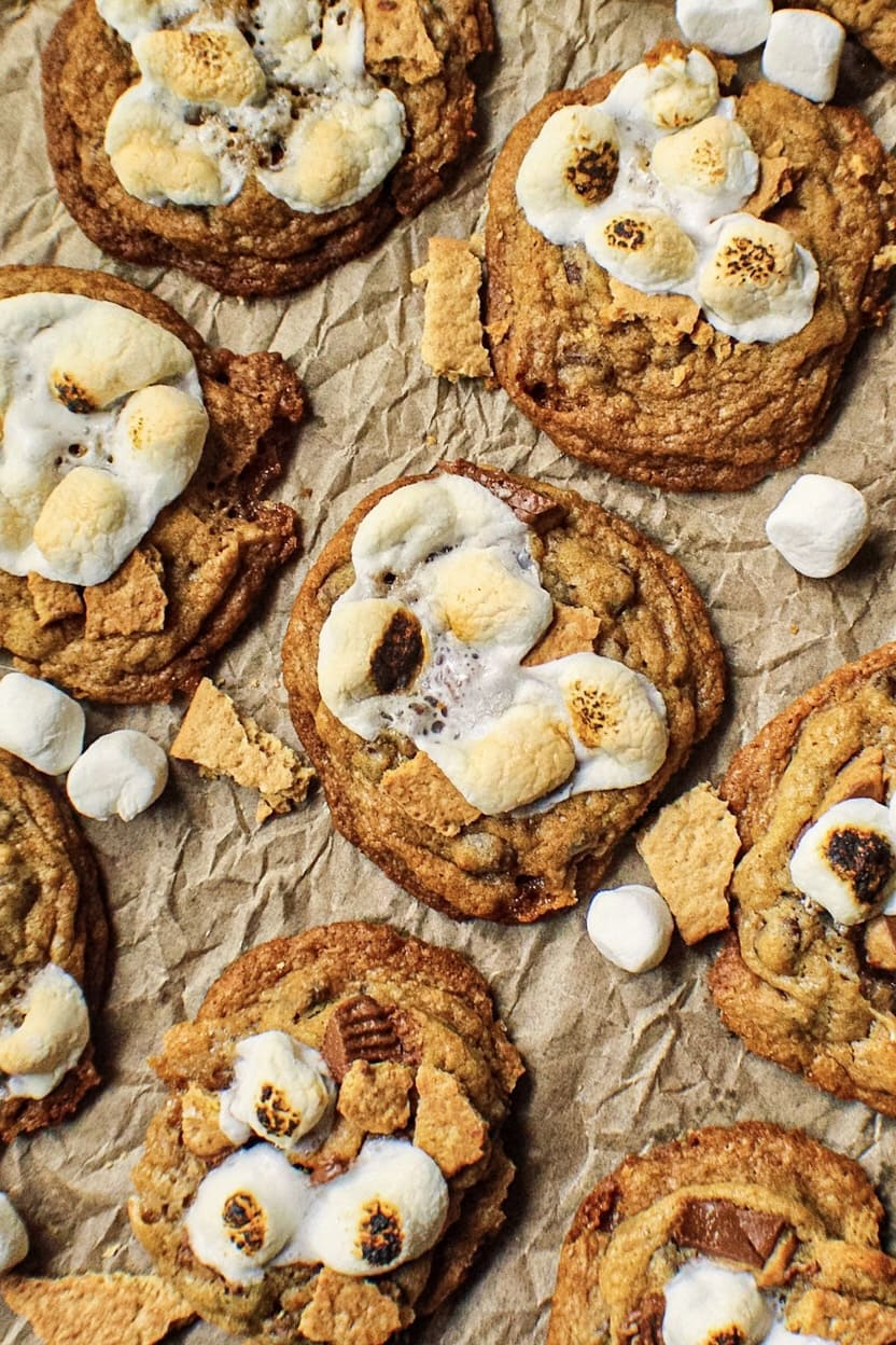 overhead shot of s'mores cookies on parchment paper.